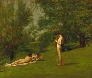 Stood Paintings - Arcadia circa 1883 by Thomas Cowperthwait Eakins