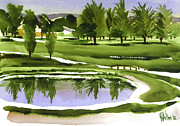 Water Colours Posters - Arcadia Valley Country Club Dramatic Poster by Kip DeVore