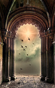 Cloistered Prints - Arch and Birds Print by Jill Battaglia