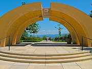 Winery Photography Digital Art Prints - Arch at Mission HIll Family Estate Winery in Kelowna-BC Print by Ruth Hager