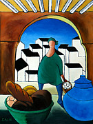 Marketplace Painting Framed Prints - Arch Bread Eggs And Blue Vase Framed Print by William Cain