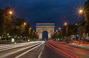 Long Street Prints - Arch de Triomphe and Avenue des Champs Elysees Paris France Print by Ayhan Altun