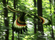 Tree Creature Framed Prints - Archaeopteryx Flying Through A Forest Framed Print by Yuriy Priymak