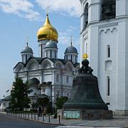 Archangel Photo Prints - Archangel Cathedral And Czar Bell - Square Print by Alexander Senin