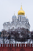 Cupola Posters - Archangel cathedral of Moscow Kremlin - Featured 3 Poster by Alexander Senin