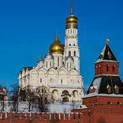 Archangel Photo Prints - Archangel Cathedral Of Moscow Kremlin - Square Print by Alexander Senin