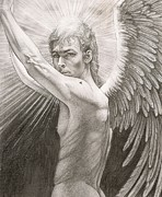 Angelic Drawings - Archangel Chamuel by Karina Griffiths