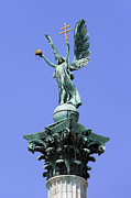 Hold Framed Prints - Archangel Gabriel Statue in Budapest Framed Print by Artur Bogacki