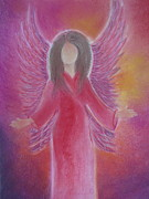 Angel Art Pastels Framed Prints - Archangel Jophiel Framed Print by Antje Martens-Oberwelland