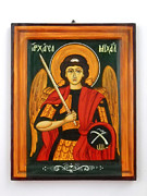 Archangel Mixed Media Prints - Archangel Michael hand-painted wooden holy icon orthodox iconography icons ikons Print by Denise Clemenco