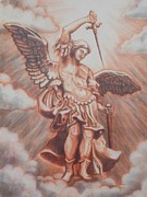 Michael Pastels Posters - Archangel Michael Poster by Monica James