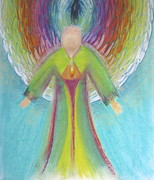 Archangel Pastels Framed Prints - Archangel Raziel Framed Print by Antje Martens-Oberwelland