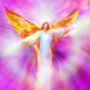 Visionary Art Prints - Archangel Sandalphon in Flight Print by Glenyss Bourne