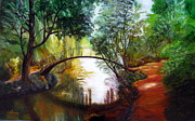 Lavonne Hand Framed Prints - Arched Bridge over Brilliant Waters Framed Print by LaVonne Hand