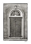 Brenda Bryant Framed Prints - Arched Door in French Quarter in Black and White Framed Print by Brenda Bryant