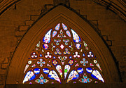 Cindy Longhini Prints - Arched Stained Glass Window Print by Cindy Lee Longhini