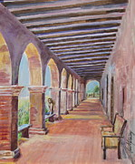 San Juan Paintings - Arched Walkway at Mission San Juan Capistrano by Jan Mecklenburg