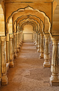 Archways Posters - Arches at the Amber Palace at Jaipur in India Poster by Robert Preston