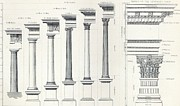 Columns Drawings Metal Prints - Architecture I Orders of Architecture engraved by Charles Lawrie Metal Print by  John Burley Waring