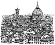 Florence Drawings Framed Prints - Architecture of Florence skyline in ink  Framed Print by Lee-Ann Adendorff