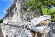 Architectural Details Photo Prints - Architecture of the Great Mayan Ball Court  Print by Mark E Tisdale