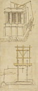 Italian Drawings Prints - Architecture with indoor fountain from Atlantic Codex  Print by Leonardo Da Vinci