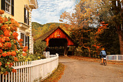 Covered Bridge Art Prints - Architecture - Woodstock VT - Entering Woodstock Print by Mike Savad