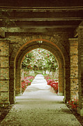 Old Town Digital Art Acrylic Prints - Archway And Blooming Trees Acrylic Print by Ben and Raisa Gertsberg