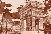 Paris Pyrography Framed Prints - Arco do Triunfo Framed Print by Jean Soares