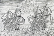 Sail Boats Drawings Posters - Arctic Phenomena from Gerrit de Veer s Description of his Voyages Amsterdam 1600 Poster by Netherlandish School
