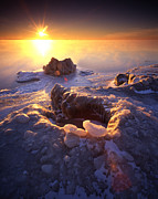 Sunset; Ice Prints - Arctic Sunrise Print by Ray Mathis