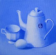 Bartender Paintings - Arcticflower tea in ultramarine blue by Jennifer Richards