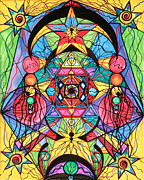 Sacred Art Painting Prints - Arcturian Ascension Grid Print by Teal Eye  Print Store