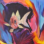 Fish Underwater Paintings - Are You Looking At Me? by Barbara Petersen