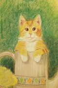 Cat Pastels - Are You Sure Its OK To Be In Here by Denise Fulmer
