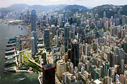 Hong Kong Metal Prints - Areal View over Hong Kong Metal Print by Lars Ruecker