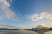 Mountain Reflection Lake Summit Mirror Prints - Arenal in morning light Print by Marc Venema
