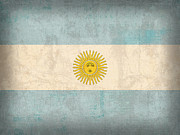 Argentina Framed Prints - Argentina Flag Vintage Distressed Finish Framed Print by Design Turnpike
