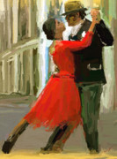 Hand Painted Framed Prints - Argentina Tango Framed Print by James Shepherd