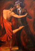 Ballroom Paintings - Argentine Tango by Sheri  Chakamian