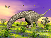 Green Foliage Digital Art Prints - Argentinosaurus Eating Plants While Print by Elena Duvernay