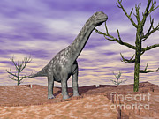 Bare Trees Metal Prints - Argentinosaurus Standing On The Cracked Metal Print by Elena Duvernay