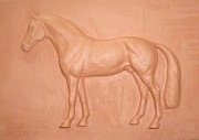 Greeting Cards Reliefs Prints - ARGILIO DH- sport horse-sculpture relief Print by Dorota Zdunska