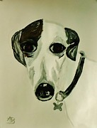Whippet Painting Posters - Argo the Whippet Poster by Marie Bulger