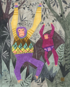 Chimpanzee Drawings Posters - Argyle and Underpants Poster by Kate Cosgrove