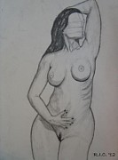 Figure Study Drawings Prints - Aria Giovanni Nude Study Print by Richard Ian Cohen