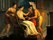 Warm Colors Painting Prints - Ariadne giving some thread to Theseus to leave labyrinth Print by Pelagius Palagi