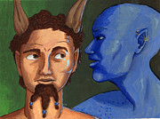 Satyr Paintings - Ariel and Caliban by Whitney Morton