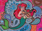 Necklace Drawings Posters - Ariel and her violin Poster by Keri Costello