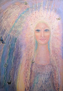 Spiritual Portrait Of Woman Paintings - Arielle by Lila Violet